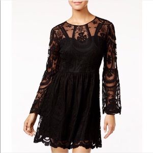 American Rag Cie lace fit flare bell sleeve dress